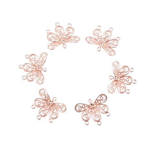 Minion Delicate 100pcs Brass 5 Petal Flower Bead for Jewelry Making Accessories - Rose Gold, /
