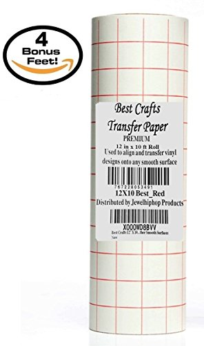 Best Crafts 12' X 10' Feet Roll Transfer Paper w/ Grid- Perfect Alignment of Cameo or Cricut Self Adhesive Vinyl for Decals, Signs, Walls, Windows and Other Smooth Surfaces
