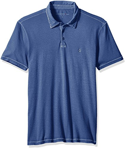 John Varvatos Men's Short Sleeved Cut and Sew Polo with Peace Sign Emb, Regal Blue, Medium