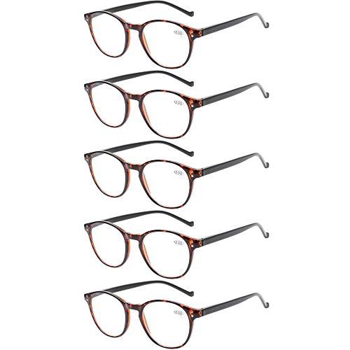5 Pairs Reading Glasses - Standard Fit Spring Hinge Readers Glasses for Men and Women (5 Pack Tortoise/Black, 2.00)