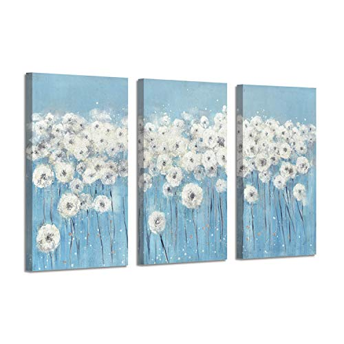 Abstract Dandelion Artwork Canvas Picture: Floral Painting Print Blue and White Wall Art ( 26'' x 16'' x 3 Panels ) (Abstract And Art White Blue)