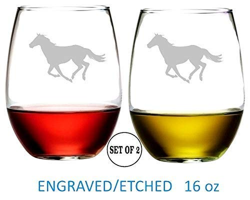 Horse Running Stemless Wine Glasses Etched Engraved Perfect Fun Handmade Gifts for Everyone Set of 2