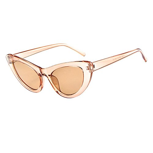 ZOMUSAR Sunglasses, Women Colorful Transparent Round Retro Sunglasses Clout Goggles Sunglasses (A) Cat Eye Interchangeable Goggles