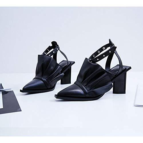 ZHZNVX Zapatos de Mujer Piel de Oveja Spring & Fall Comfort Heels Heterotypic Heel Black/Pink Black