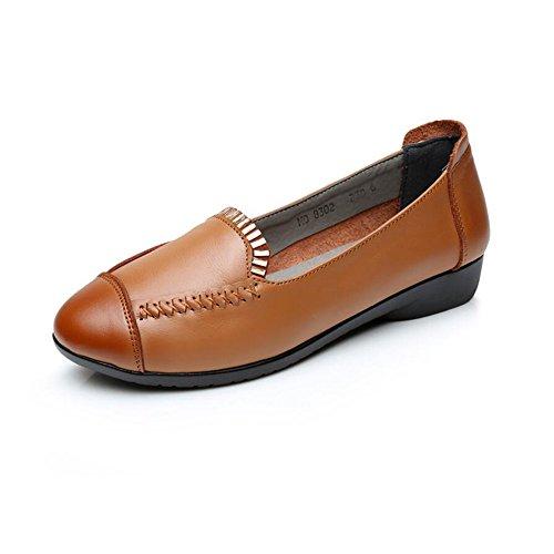 de Zapatos Planos Zapatos Amarillo Suave XZGC Cuero con Casual Primavera 7PIqwqcTUa