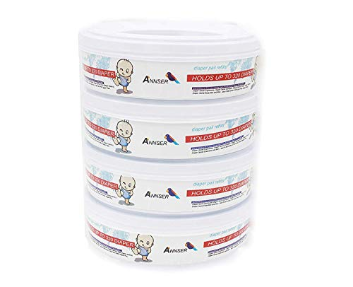 Diaper Pail Refills Compatible Genie Diaper Pail,4-6 Months Supply,1120 Count (Pack of 4)