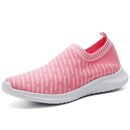 TIOSEBON Women's Walking Shoes Lightweight Mesh Slip-on- Breathable Running Sneakers 9.5 US Pink]()