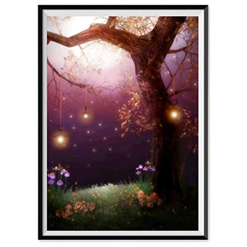 DIY 5D Diamond Painting,Dartphew Beautiful moonlight trees & firefly lanterns - Crafts & Sewing Cross Stitch,Wall Stickers for Home Living Room Decoration(Tree,Size:30x40cm) ()