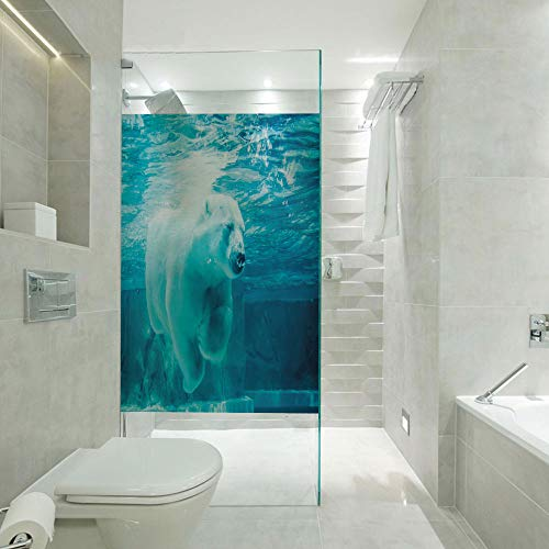 (RWNFA Non-Adhesive Glass Films Anti Uv,Arctic Polar Bear Dipping into Water Swimming Ursus Maritimus Underwater View,Customizable Size,Suitable for Bathroom,Door,Glass etc,Blue Pale Blue)