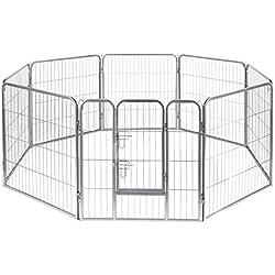 """Pet Exercise Pen Tube Gate w/ Door - (8 Panel Playpen) Heavy Duty Folding Metal Out-Door Fence - 40"""" Playpen"""