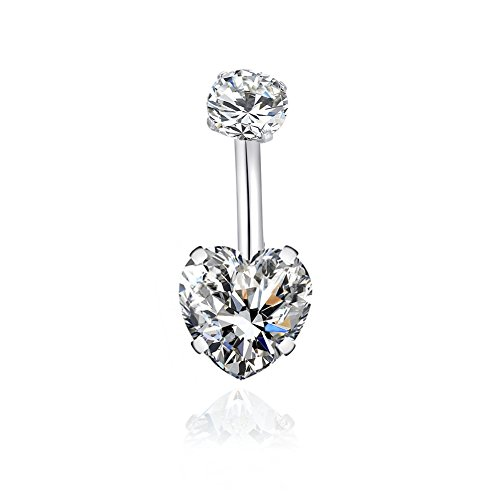 14G Surgical Steel Belly Button Rings Heart Cubic Zirconia Navel Barbell Stud Body Piercing for Women Girls … (1 PC Clear) - Crystal Heart Navel Ring