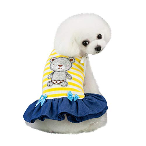 Geetobby Dog Clothes Summer Cute Pet Small Dog Cat Dress Apparel Yarn Skirts