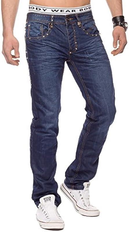 ArizonaShopping Męskie Jeans Hose Nieten Stone Washed H1330: Odzież