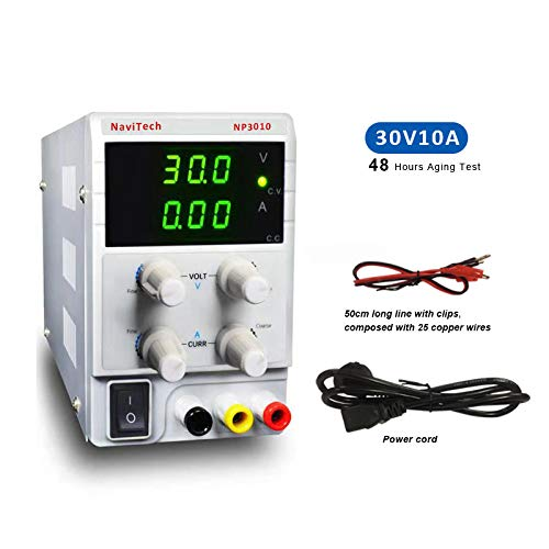DC Power Supply Variable 30V 10A, 3-Digital LED Display, Precision Adjustable Regulated Switching Power Supply Digital with Alligator Leads US Power Cord for Repair, Lab Equipment, Research and DIY