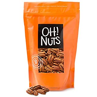 Oh! Nuts Raw Georgia Pecans Halves & Wholes | Healthy Protein Keto Snacks | Resealable Stay-Fresh 2lb Bulk Bag | All-Natural Premium Jumbo Nuts | Vegan & Gluten-Free Snacking | Pies, Desserts & Salads