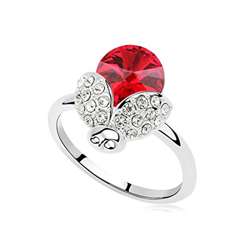 [Epinki Gold Plated Ring, Womens Light Red Beetle Crystal Paving Round Cubic Zirconia Beetle Ring Size 7] (Dark Crystal Beetle Costumes)