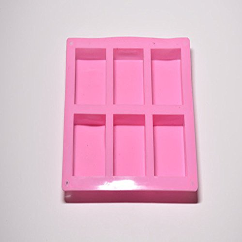 Finedayqi  6 Cavity Plain Basic Rectangle Silicone Mould for Homemade Craft Soap Mold (Mold Barquette)