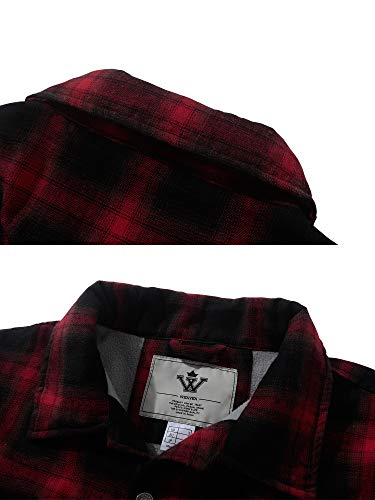 Mangas Largas De Para Franela Hombre Wenven Camisa Chaqueta Rojo C7wYqRC