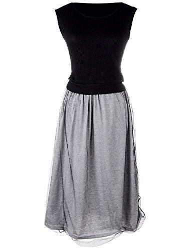 Kleid Kaci Midi Shirt Rock ärmelloses Combo Ausgestellte Anna Schwarz S Grau Fit M Own7T7Bq