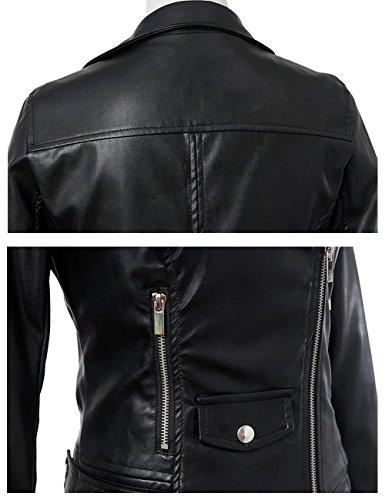 Chaquetas Mujer Piel Cremallera Imitacion Biker con Cazadoras Abrigos Moto Jackets LooBoo 2018 Jackets Cuero HIxzFnwq