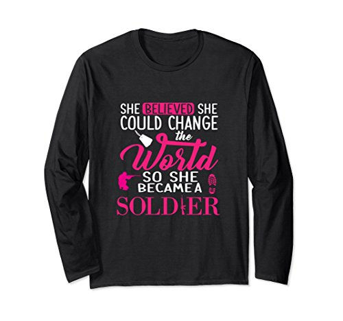 sleeve Premium She Believed she could Soldier Medium Black
