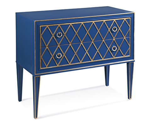 Bassett Mirror Company Selby 2 Drawer Hall Chest, Blue/Gold