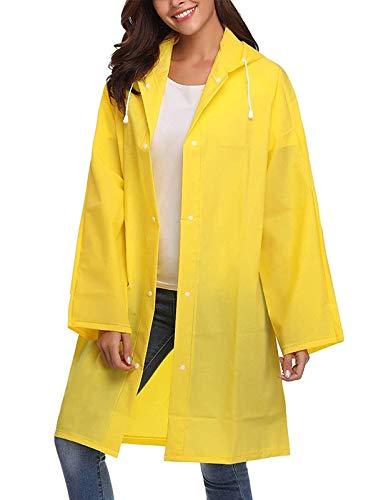 (Kikibell PVC Raincoat Durable EVA Rain Cape Unisex Men Women Rain Poncho with Hat Hood for Outdoor Travel Yellow XL)