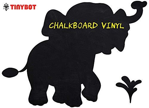 Tinybot - Cute Elephant Zoo Animal Removable Blackboard Chalkboard Adhesive Wall Vinyl Decal Decor Sticker for Baby Kids Nursery Bedroom Living Room - Color Black - 10