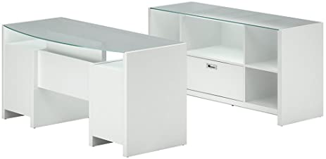 Kathy Ireland Office By Bush Furniture Bow Front Desk With Credenza,  Plumeria White