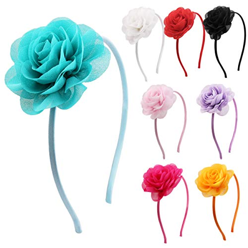 Candygirl Flower Headband for Girls Wedding Festival Parties Floral Hairband (8 Rose Flower) -
