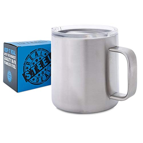 16 oz Stainless Steel Mug: Double Walled Metal Camping Mug with Lid - Vacuum Insulated Steel Coffee Mug with Handle for Outdoors, RV, Boating, Hiking, Campfire - Durable, Shatterproof ()