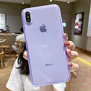 """iPhone X Case Silicone,iPhone Xs Case,[Matte Shock-Absorption Bumper Edge] Silicone TPU Soft Gel Phone Cover for Apple iPhone X/Xs 5.8"""" (2018) - Clear Purple"""