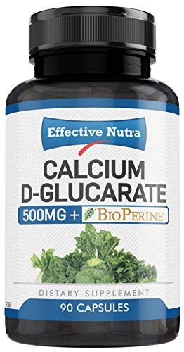 Calcium D-Glucarate 500mg (90 Vegan Capsules) Promote Hormone Balance | Non-GMO, Soy Free Liver Cleanse | Weight Management, Metabolism, Menopause Support | 3 Month Supply (Advanced Hormonal Support)