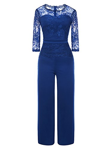 (LSAME Women's Elegant Lace Spliced Playsuit Cocktail High Waisted Wide Leg Long Romper Jumpsuit (Royal Blue, X-Large))