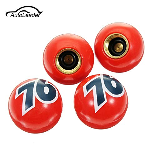 Carvicto - 4Pcs Car Bike Tyre Tire Air Valve Stem Dust Caps Universal Cover For Car Bike Red Number 76 Ball Plastic Sphere