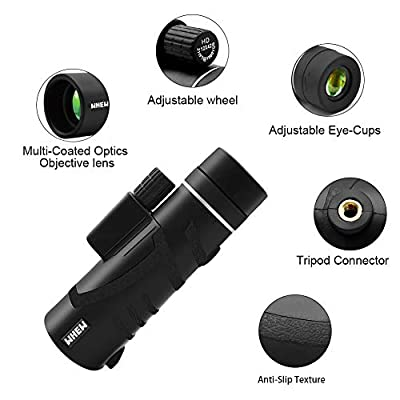 Whew Monocular Telescope, 12X42 HD Dual Focus Scope with Smartphone Holder and Tripod, Waterproof and Low Night Vision with BAK4 Prism FMC for Hunting Bird Watching Camping Outdoor Sporting
