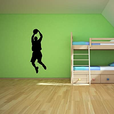 Basketball Wall Decal Sticker 1 - Decal Stickers and Mural for Kids Boys Girls Room and Bedroom. Sport Vinyl Decor Wall Art for Home Decor and Decoration - Basketball Player Silhouette Mural
