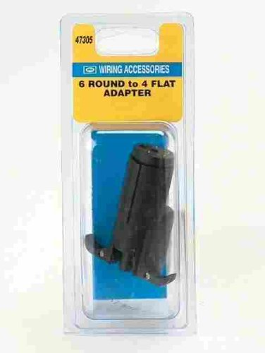 Hopkins Towing 47305 6-Wire Round To 4-Wire Flat Plug-In Simple® Adapter -  HOPPY