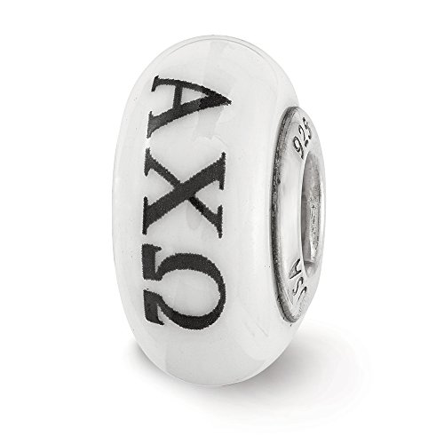 Fenton Hand Painted Alpha Chi Omega Glass & Sterling Silver Charm