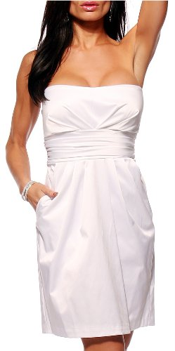 WHITE SATIN STRAPLESS EVENING PARTY DRESS WITH POCKETS, Medium