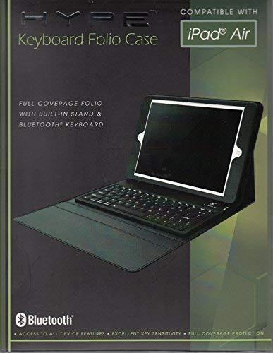 HYPE Bluetooth Keyboard Folio Case & Stand Fits = iPad Air HY-1225 Black