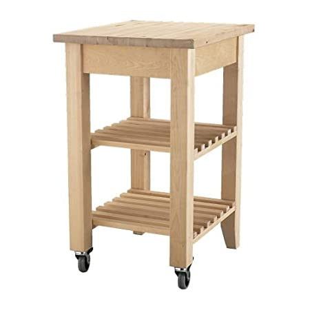 Carrello da cucina Ikea Bekvam in legno massiccio di faggio con 2 ruote e 2  ripiani 58 x 50 cm