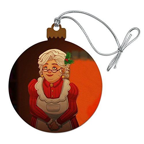 GRAPHICS & MORE Mrs Claus with Mistletoe Santa Christmas Holiday Wood Christmas Tree Holiday Ornament -  ORN.RND.WOOD.Z000580