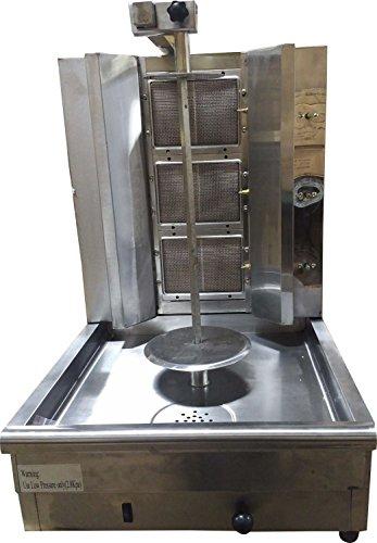 Machine Gas Gyro (Hunslow Tacos Al pastor Doner Kebab Shawarma Gas Burner Grill - Vertical Broiler - Automatic 2 Burners Machine with 10 side Kebab Skewers - 2, 3 and 4 Burners Propane Gas option (3 Burners))