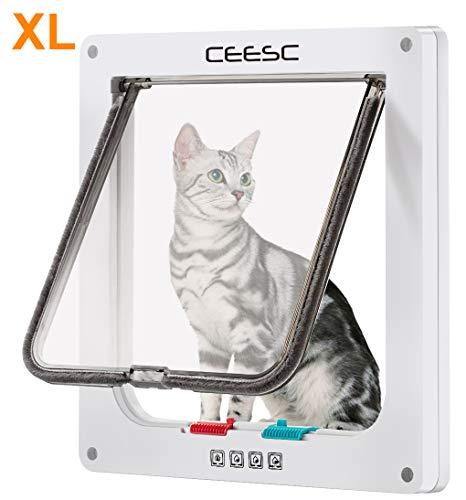 """CEESC Large Cat Door (Outer Size 11"""" x 9.8""""), 4 Way Locking Cat Door for Windows & Sliding Glass Door, Weatherproof Cat Flap Door for Cats & Doggie with Circumference < 24.8"""""""