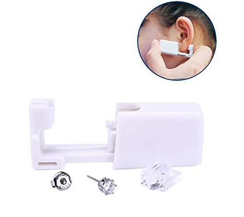 2PCS Disposable Ear Puncturing Tool Healthy Safety Asepsis Ear Navel Lips Nose Body Ring Piercing Tattoo Gun Kit with Stainless Steel Ear Studs(White) by Elandy (Image #9)