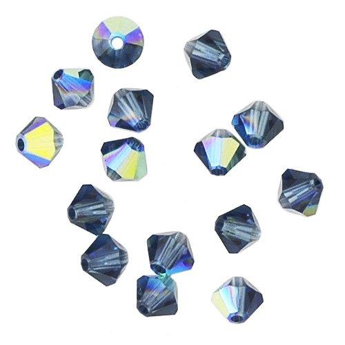 100 pcs 4mm Swarovski 5301 Crystal Bicone Beads, Montana AB, SW-5301 (Beads Bicone Crystal 5301)