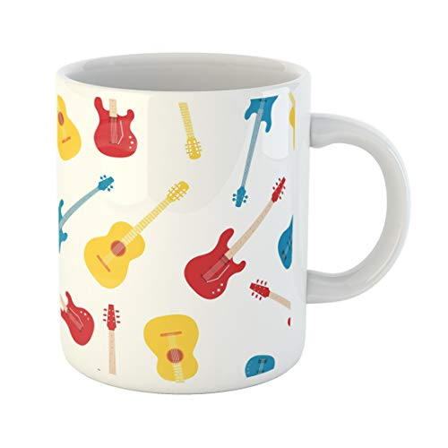 Semtomn Funny Coffee Mug Blue Rock of Guitars Pattern Colorful Abstract Acoustic Audio 11 Oz Ceramic Coffee Mugs Tea Cup Best Gift Or -