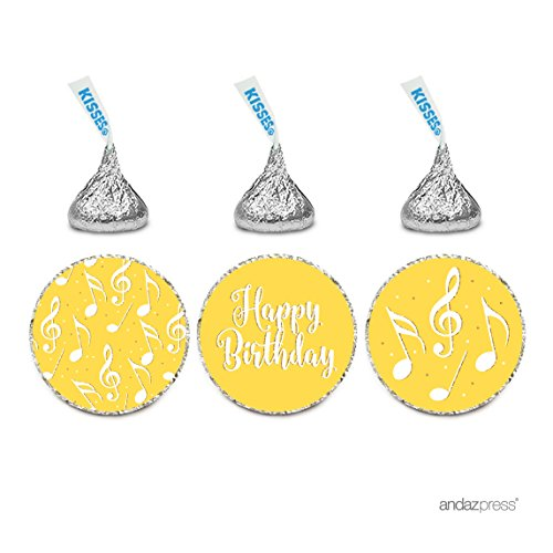 Andaz Press Birthday Chocolate Drop Labels Trio, Fits Hershey's Kisses Party Favors, Music Note, Happy Birthday, 216-Pack