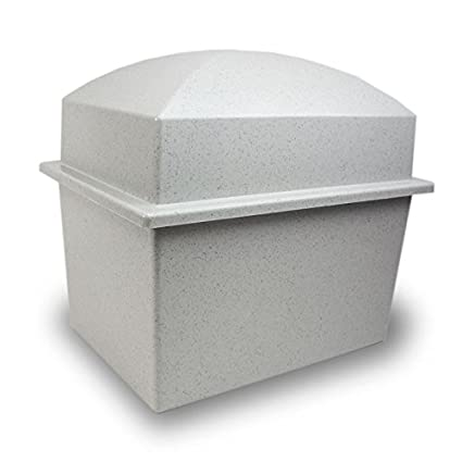 OneWorld Memorials Cremation Urn Vault Polymer Urn Vault for Burial- Ideal  for Two Urns - Grey Outdoor Burial Vaults